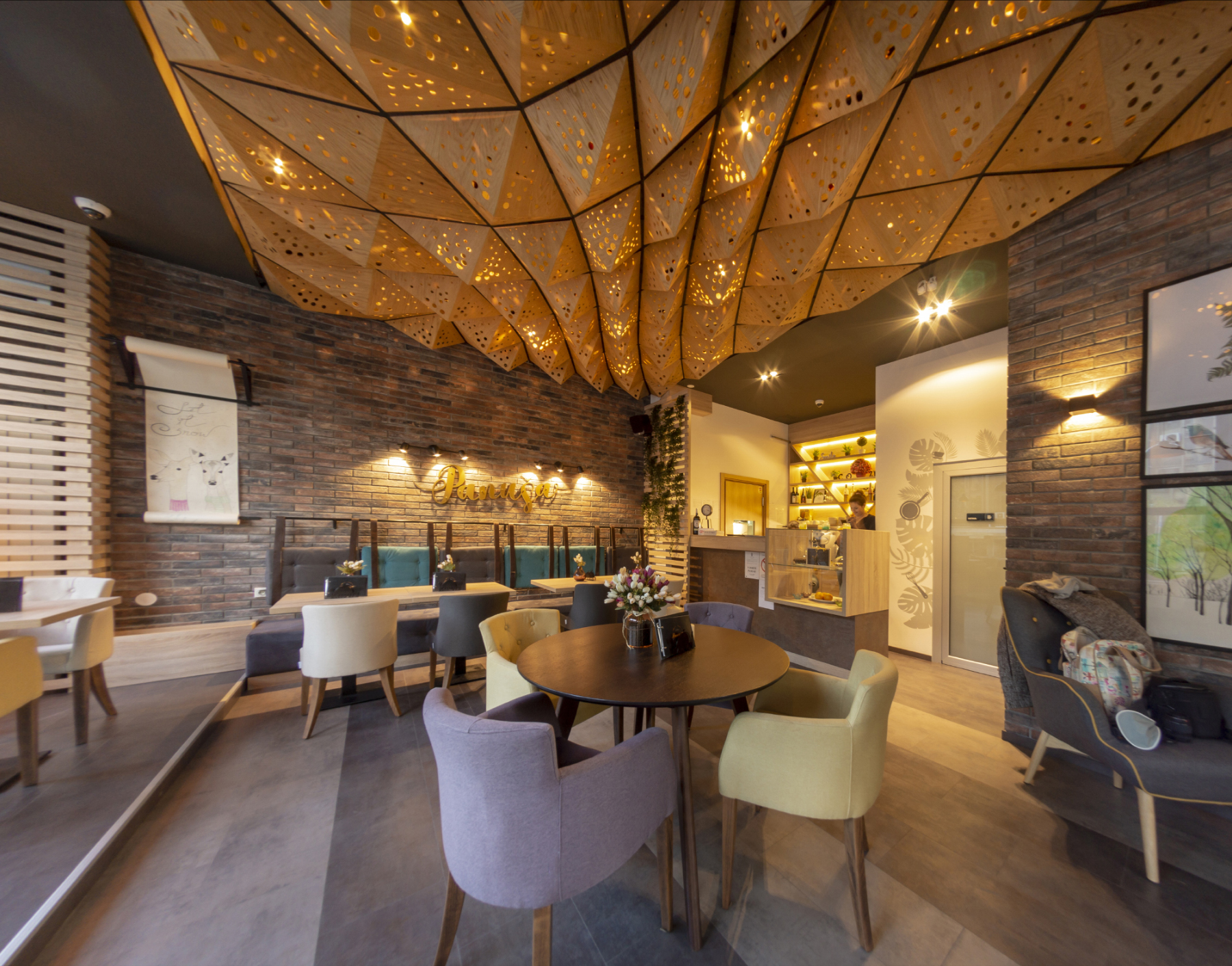 Parametric wooden ceiling