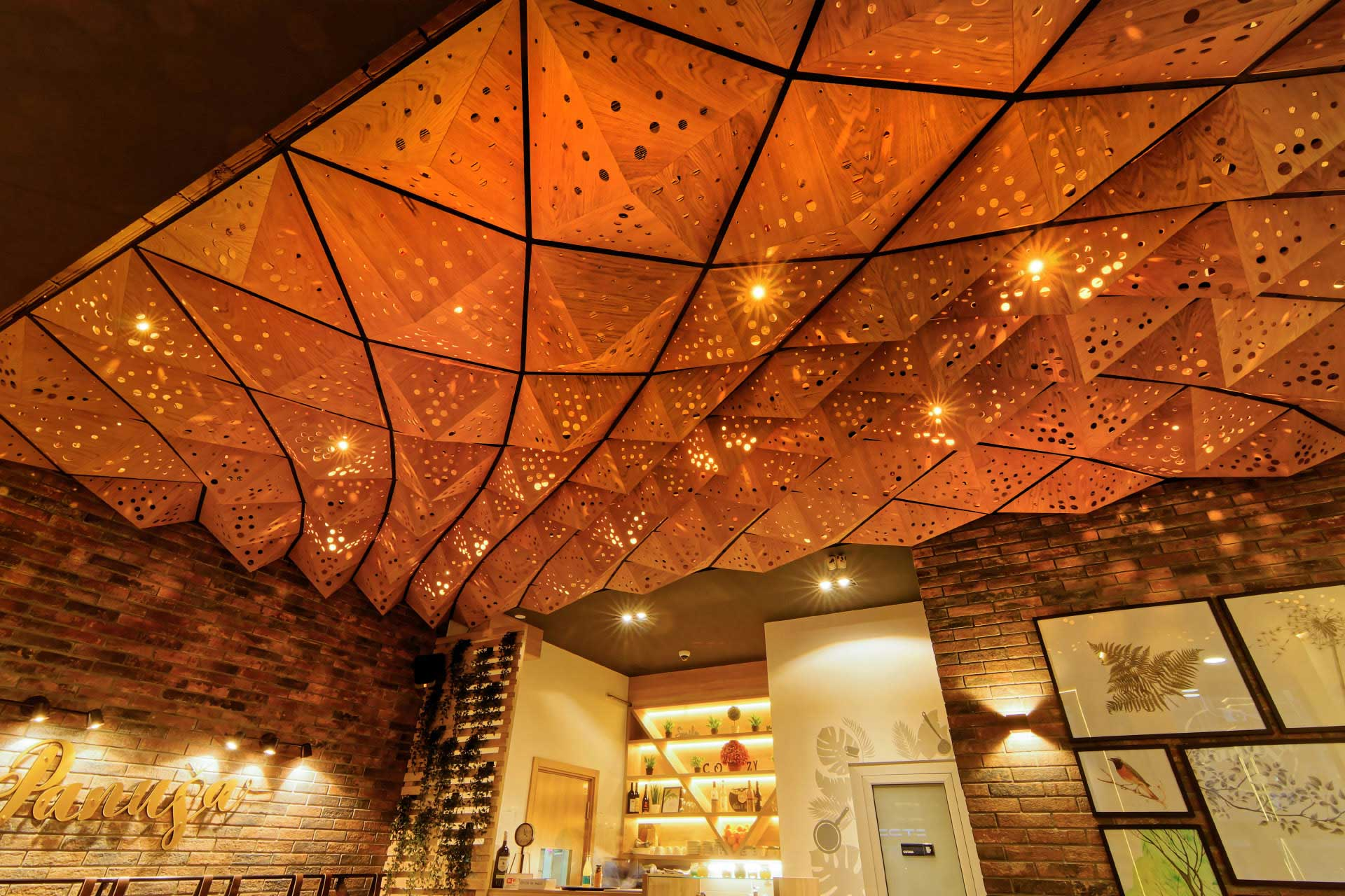 Parametric design wooden ceiling