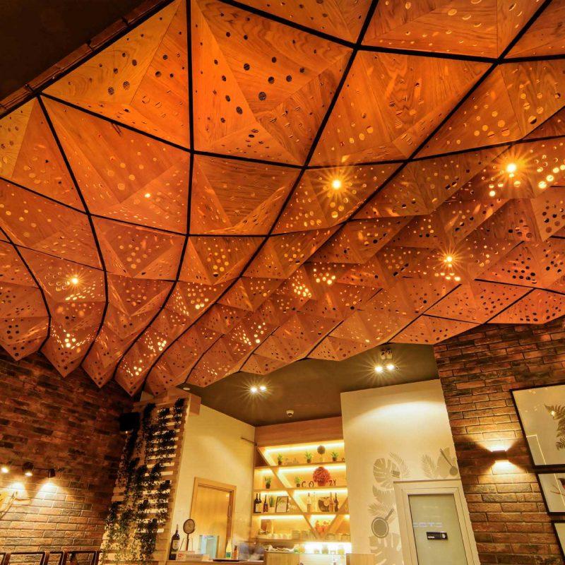 Parametric design wooden ceiling